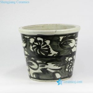 RZNA09   Black and white Ming Dynasty crackle ceramic flower pot