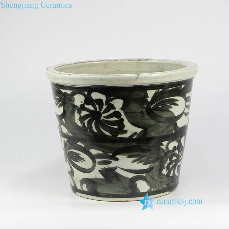black and white pottery pot