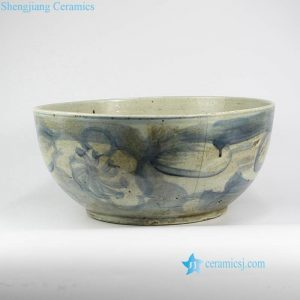 RZNA12 Dirt design dig out antique style porcelain large bowl for exhibition