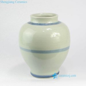 RZNA15 Light blue round line Ming Dynasty antique clay urn