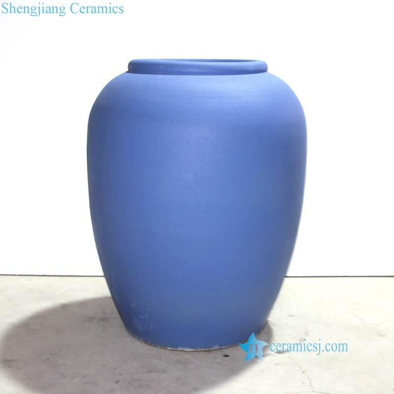 blue ceramic fish pond