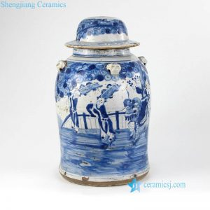 DS-RZEY15 Kylin bring kids to home pattern Chinese antique ceramic lamp base