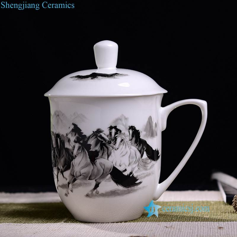 black and white horse ceramic cup