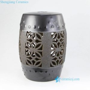 RYIR131 Matte chocolate top and bottom coarse belly ceramic garden seat