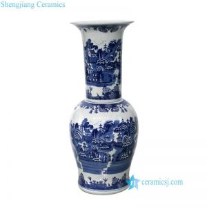 RYLU148 Hand painted long neck landscape masterpiece ceramic vase