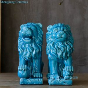 RYPU46 Blue color home decor lion porcelain figurine