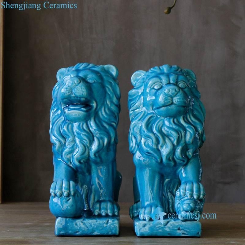 blue lion porcelain figurine