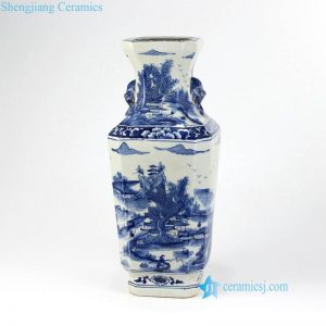RYUK17-B Lion head handle China country life pattern hand painted Qing Dynasty porcelain vase