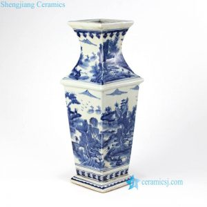 RYUK26-B China landscape pattern blue and white 4 sides ceramic antique vase