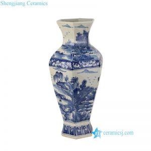 RYUK28 Six sides landscape pattern ceramic Qing Dynasty vase