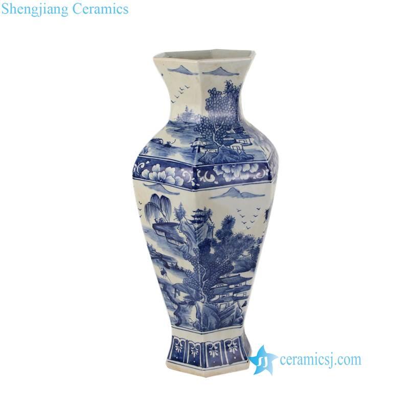 6 sides blue and white vase