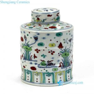 RYWR02 Ming dynasty clashing color Chinese mandarin ducks with lotus pond pattern porcelain jar