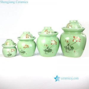 RYXM02 Green color background red lotus pattern pottery pickle jar