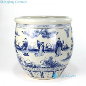 RZFH13 The eight immortals pattern ceramic fish pot