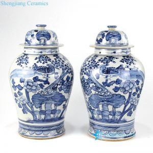 RZFI05-D Hand painted cobalt blue pheasant floral pattern antique porcelain jar