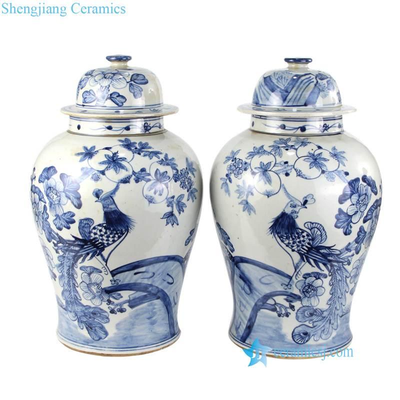 phoenix pattern ceramic jar