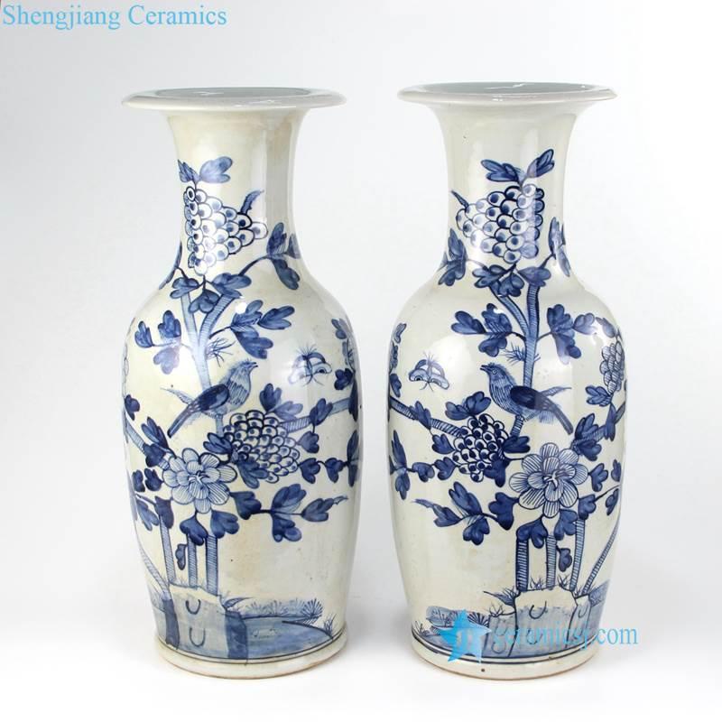 bird floral ceramic vase
