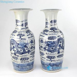 RZFI09 Blue and white ceramic dragon pair vase