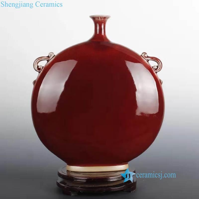 moon round shape red ceramic vase