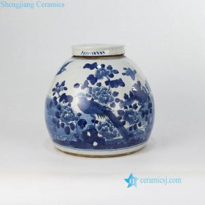 RZFZ07-a old Antique style dark blue bird floral pattern ceramic jar