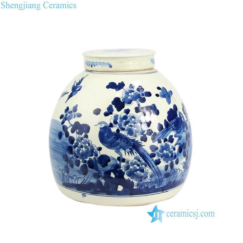 bird floral ceramic jar
