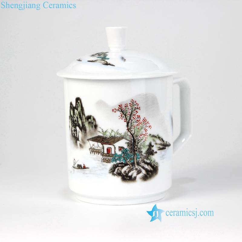 water town pattern ceramic cup