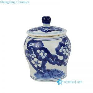 RZIG08 Qing Dynasty hand painted antique style winter blossom ceramic spice jar