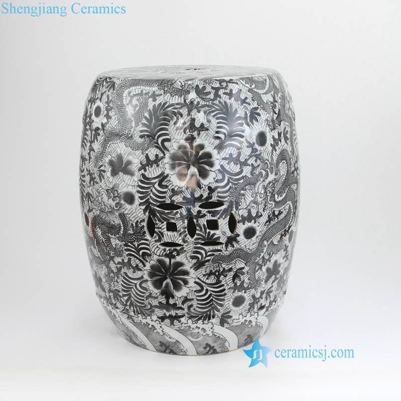 thousand flower pattern black ceramic stool