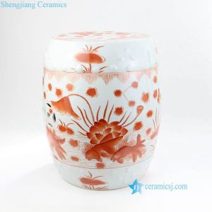RZIS02-C Red color fish and lotus pond pattern Jingdezhen China porcelain seat for garden