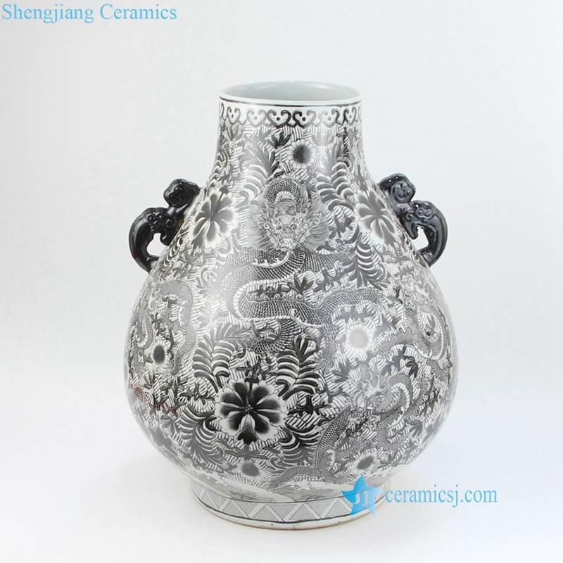 black floral vase