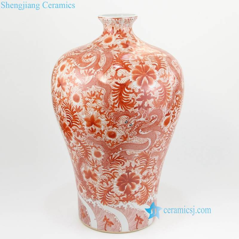RZIS05-10 Unique red and black floral bulbous porcelain vase from JDZ Chin