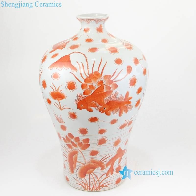 red lotus vase