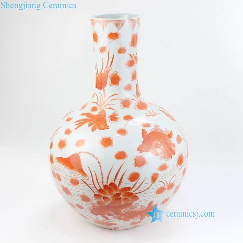 red floral bulbous vase