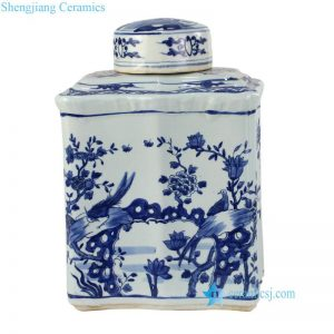 RZKJ02 Hand painted high end blue and white bird floral ceramic jar