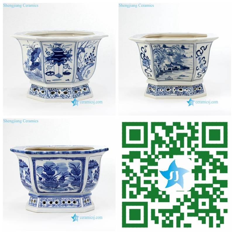 antique blue and white porcelain planter
