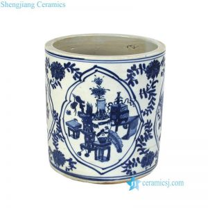 RZKT03-C Chinese ancient scholars and calligraphers' room style pattern ceramic pen holder