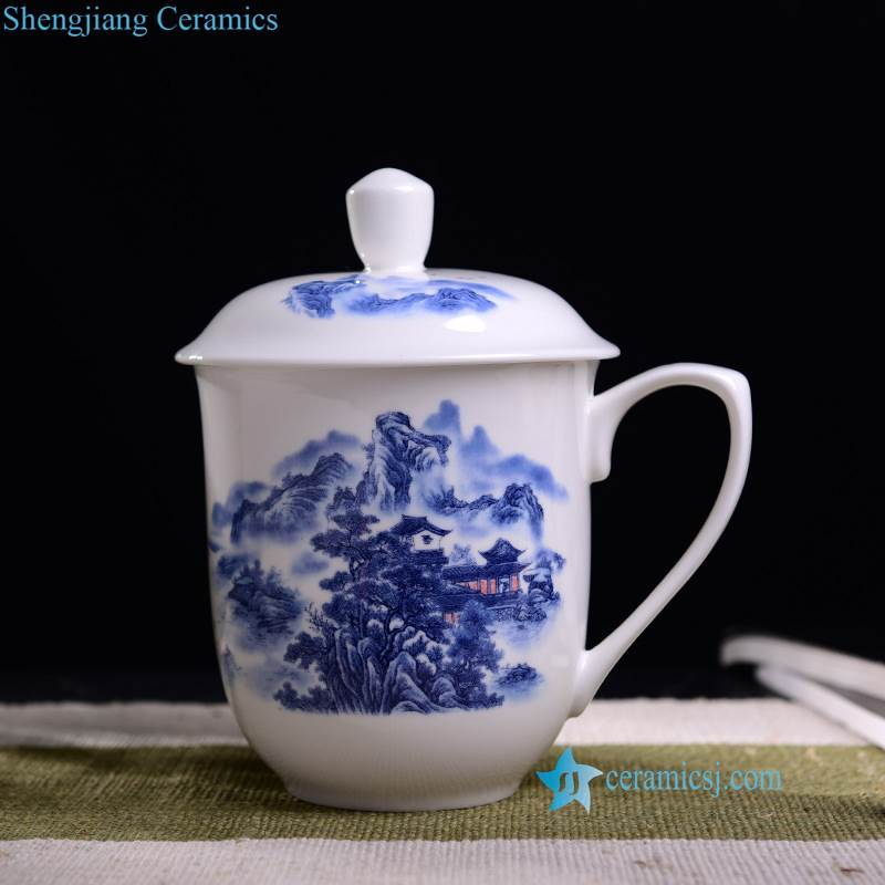blue and white water cup
