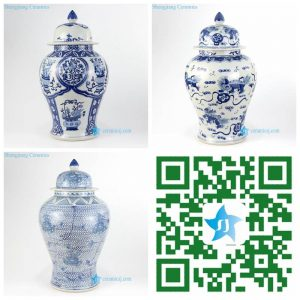 RZKY14-ABC Blue and white Jingdezhen artisan hand painted ceramic temple jar