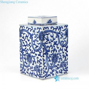 RZKY15 Hand painted collectible interlock lotus branches ceramic box jar