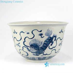 RZKY16 Hand painted dancing lion pattern ceramic large bowl