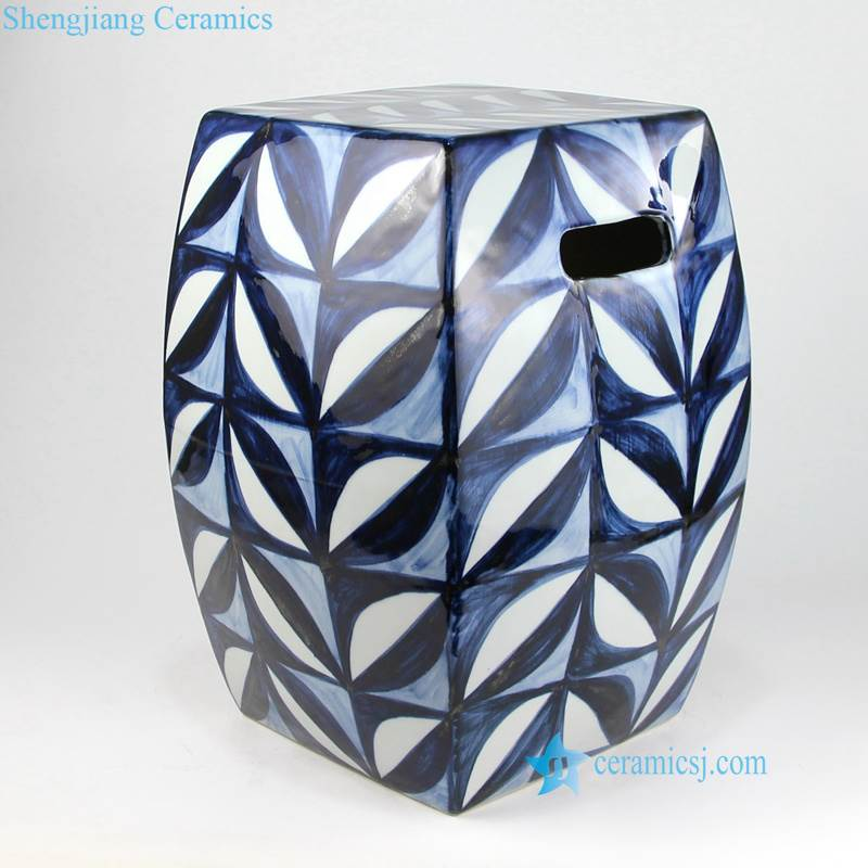 blue and white leaf stool