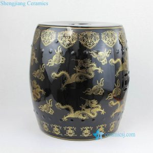 RZKL18 Black and gold dragon pattern porcelain seat for dinning room