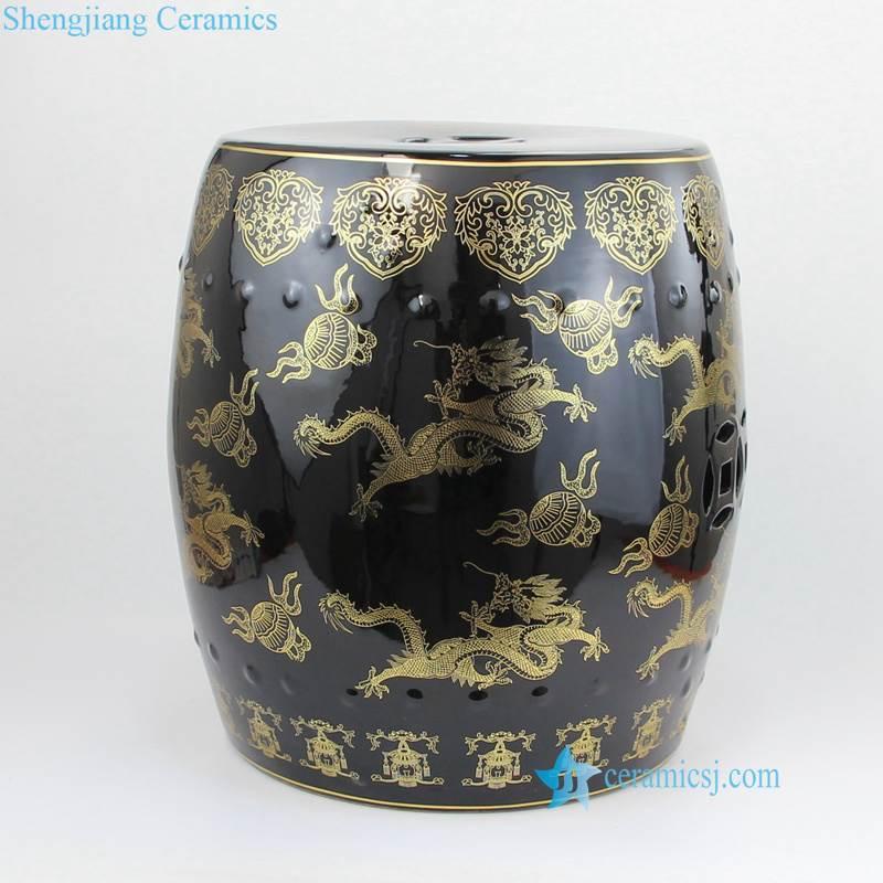 porcelain gold dragon seat