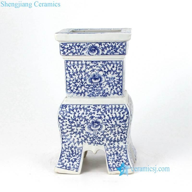 blue floral candle holder