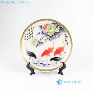 RZMN03 Colorful home decor fish and flower porcelain tray for exhibition