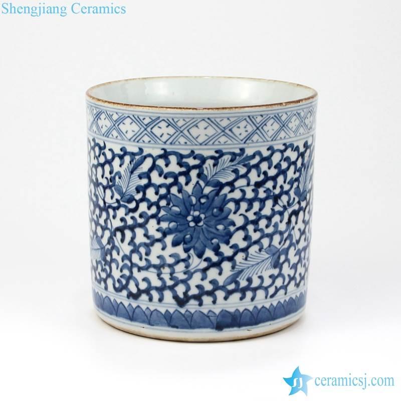 blue and white floral cylinder vase