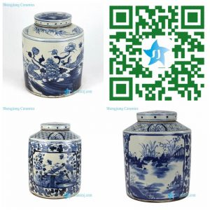 RZPJ04/05-B Qing Dynasty hand painted antique ceramic jar
