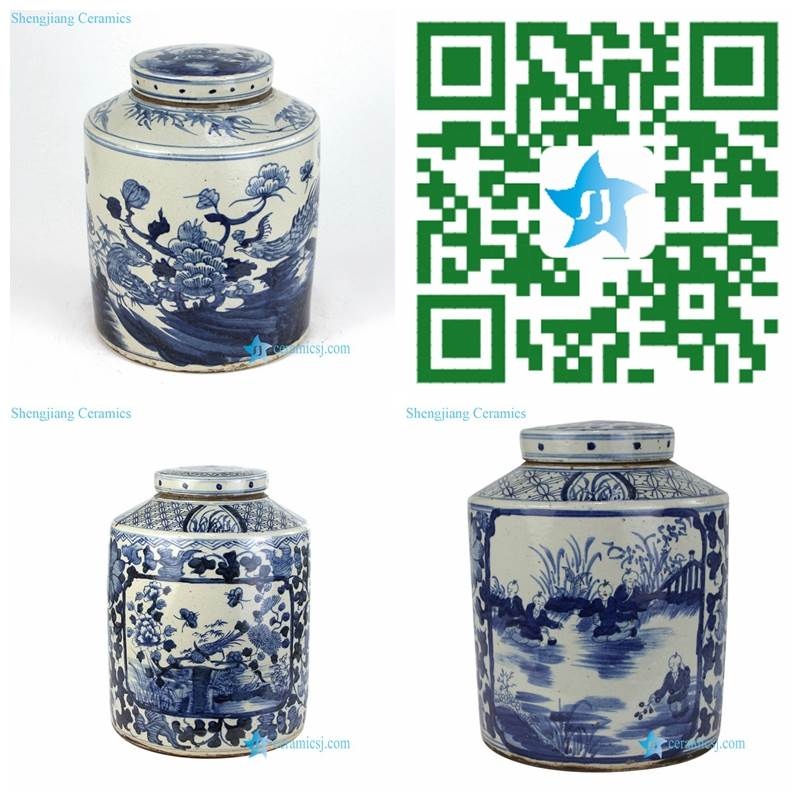 round hand painted blue and white jar