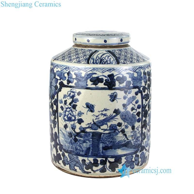 bird floral jar