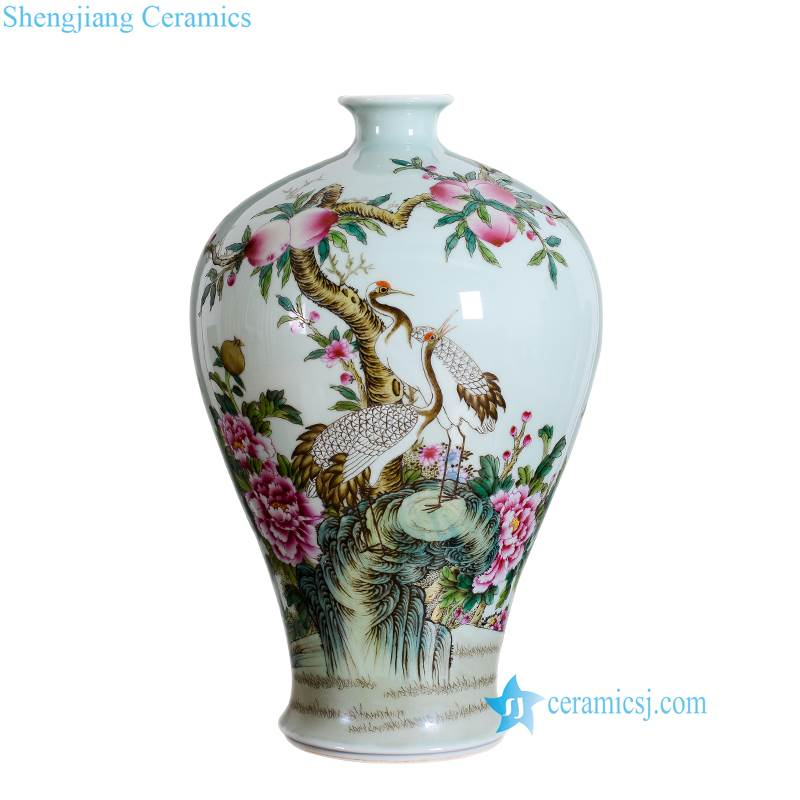 red crown crane porcelain vase